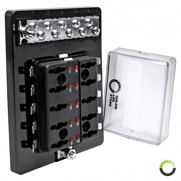12V//24V 10 WAY BLADE FUSE BOX HOLDER BUS BAR W// LED FAILURE WARNING LIGHTS ATC