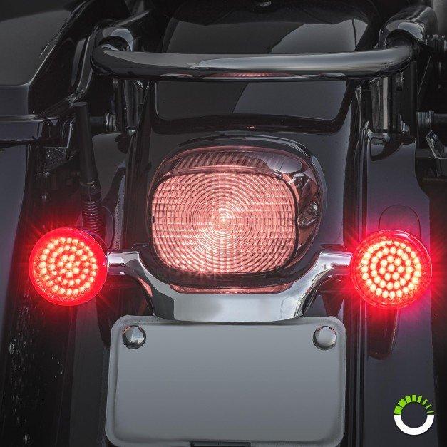 "2pc 2"" Round 1156 Black PCB Harley Davidson Motorcycle RED Rear Turn Signal Light Panel"