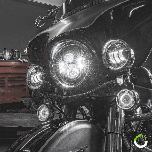 "7"" Round HALO Harley Davidson Motorcycle Headlight Kit + 4.5"" HALO Fog Light Kit + Mounting Bracket"