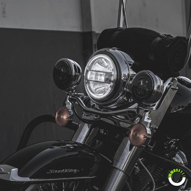 "7"" Round HDL1553 Harley Davidson HALO DRL DOT Approved Headlight Kit"
