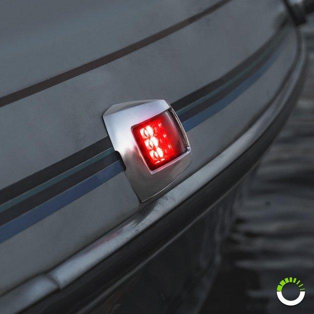 Chrome Plated Side-Mount Marine Navigation Port Lamp - Red