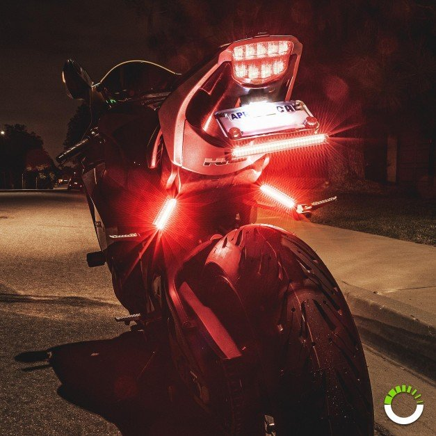 """8"""" 60 LED Double Row AMBER Sequential + RED Motorcycle TBT Light Strip"""