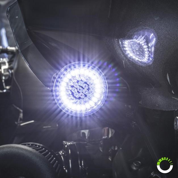 "2pc 2"" Round 1157 Black PCB Harley Davidson Motorcycle WHITE HALO + AMBER Front Running/Turn Signal Light Panel"