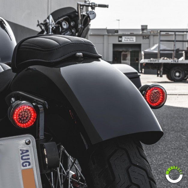 """2pc 2"""" Round 1157 Black PCB Harley Davidson Motorcycle RED HALO + RED 100%  Rear TBT Light Panel"""
