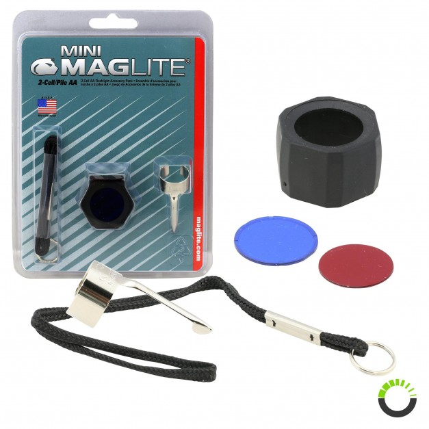Pocket Clip, Lanyard Wrist Strap w/ Key Ring, Lens Holder w/ Lenses for Mini Maglite MAG002, MAG003, MAG004, MAG005