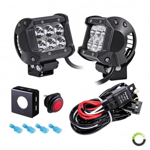 "2pc LAMPHUS CRUIZER CRLB06 4"" 18W Off Road LED Light Bar + Wiring Harness Kit"