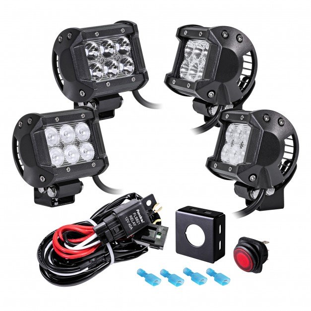 "CRUIZER 4"" 18W LED Light Bar + 8ft Wiring Harness 5pc Kit"