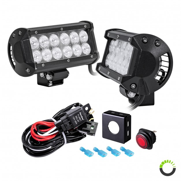 "CRUIZER 6.5"" 36W LED Light Bar + 8ft Wiring Harness 3pc Kit"