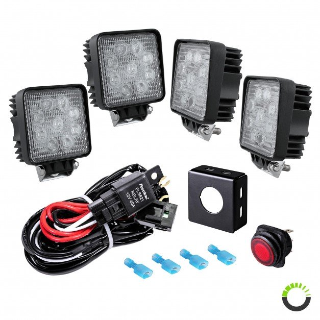 "4.5"" 27W LED Square Work Light + 8ft Wiring Harness 5pc Kit"