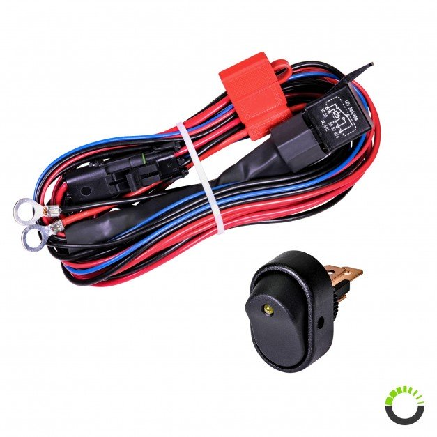 CRUIZER 17ft 30/40A Relay 12AWG 1-2 Wiring Harness w/ 30A SPST On/Off Rocker Switch
