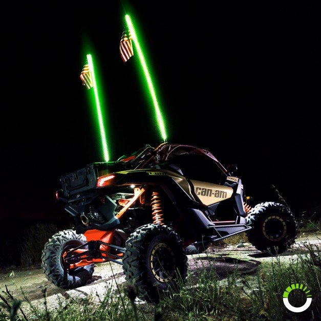 RGB Color Remote Control LED Whip w/ Flag