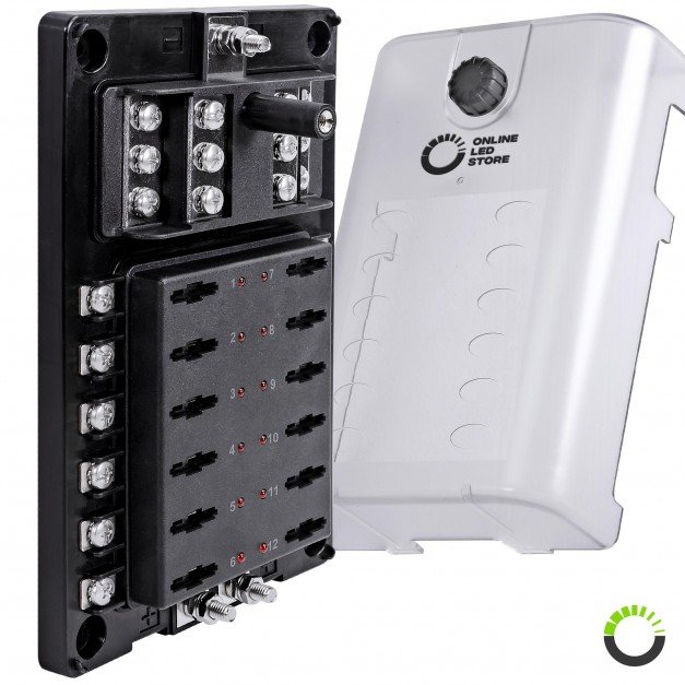 12-Way 200A Power/Ground Input LED Indicator ATC/ATO/ATF Blade Fuse Box