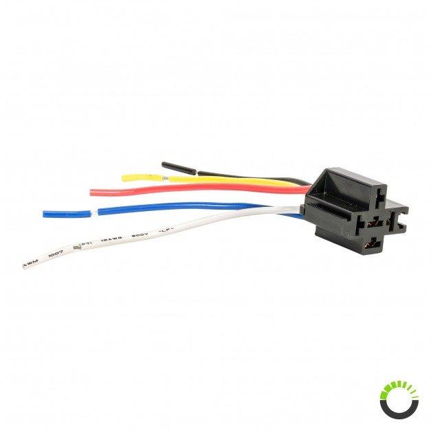 SPDT Interlocking Bosch Style 5-Pin Relay Socket Harness Base w/ Wires