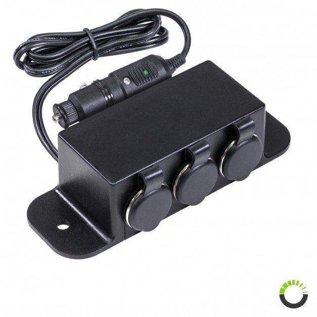 3-Port Cigarette Lighter Outlet Extension Box w/ Cigarette Plug Power Input