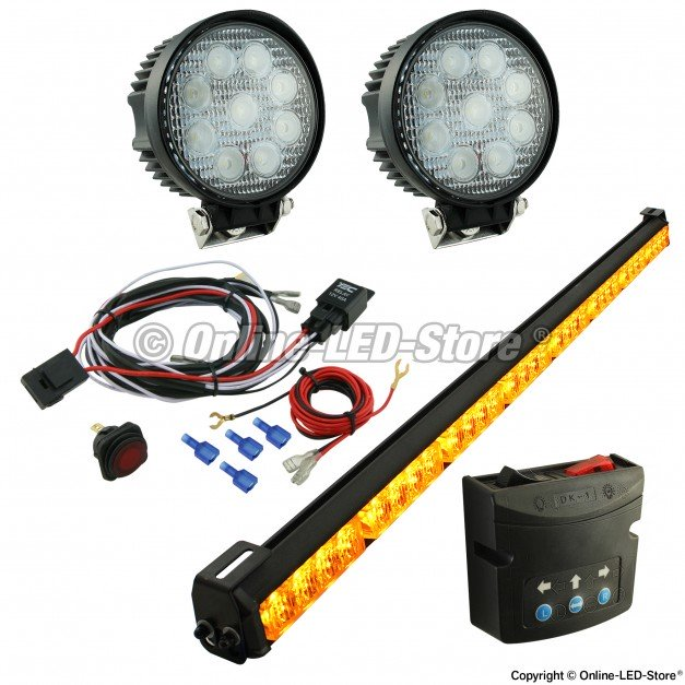 "SolarBlast 36"" Traffic Advisor + Round 27W Spot Work Light 5pc Kit"