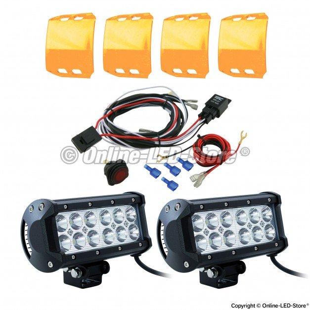 "CRUIZER 6.5"" 36W LED Light Bar + 8ft Wiring Harness 7pc Kit"