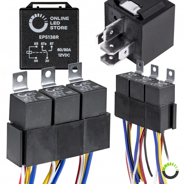 5pc 14V DC 80/60A SPDT Bosch Style 5-Pin Relay + Harness Base w/ Wires Kit
