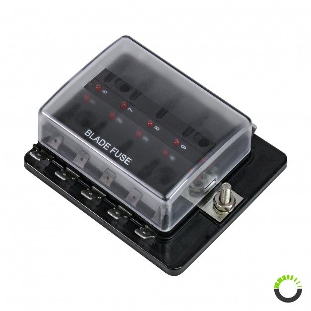 10-Way 100A LED Indicator ATC/ATO Blade Fuse Box w/ Cover
