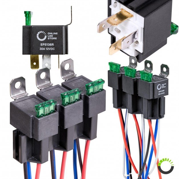 14V DC 30A SPST 4-Pin Fused Relay + Harness Base w/ Wires Kit