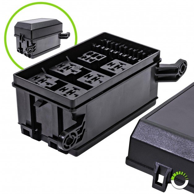 12-Slot Fuse/Relay Box for (5) 5-Pin Relays, (1) 4-Pin Relays, and (6) ATO/ATC Blade Fuses