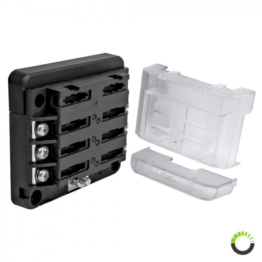 12-Way Circuit Blade Fuse Block With Ground LED Indicator ATC//ATO//ATF 200A Box