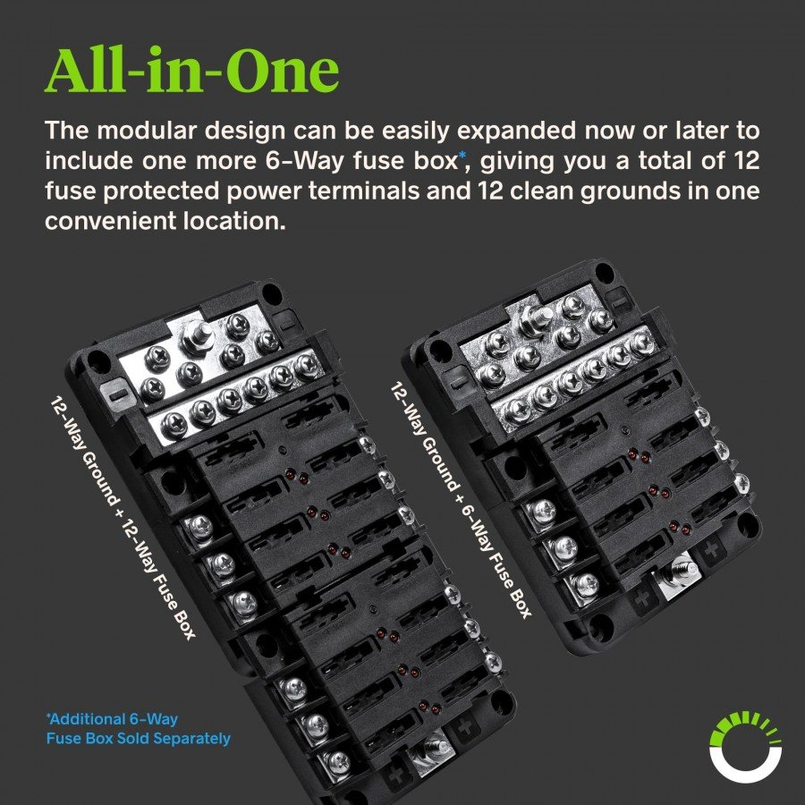 PWR0031 6-Way Positive + PWR0032 12-Way Ground M4 Modular Fuse Box |  ACCEPSPWR0033 | Grounding A Fuse Box |  | Online-LED-Store.com