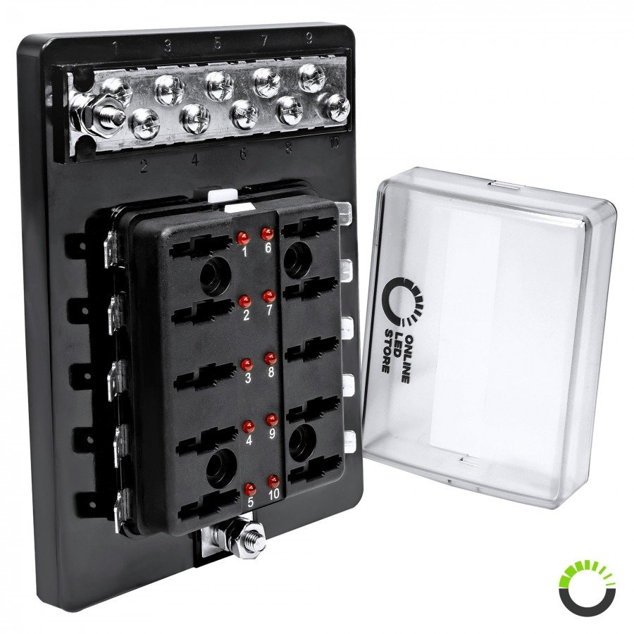 [ZSVE_7041]  10-Way 100A LED Indicator ATC/ATO Blade Fuse Box w/ 10-Way M4 Ground  Terminal Block | ACCEPSPWR0036 | 10 Way Blade Fuse Box |  | Online-LED-Store.com