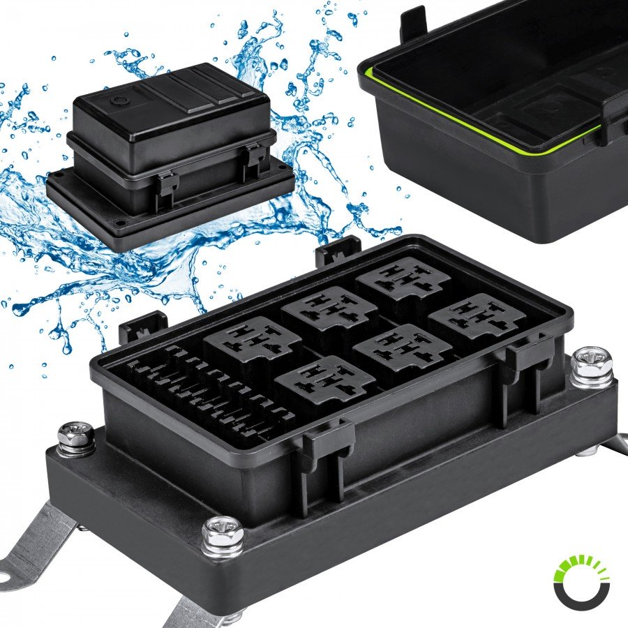 [SCHEMATICS_4FD]  IP65 Waterproof 6-Slot ATC/ATO Fuse + 6-Slot 5-Pin Relay Box | ACCEPSPWR0312 | Waterproof Fuse Block |  | Online-LED-Store.com