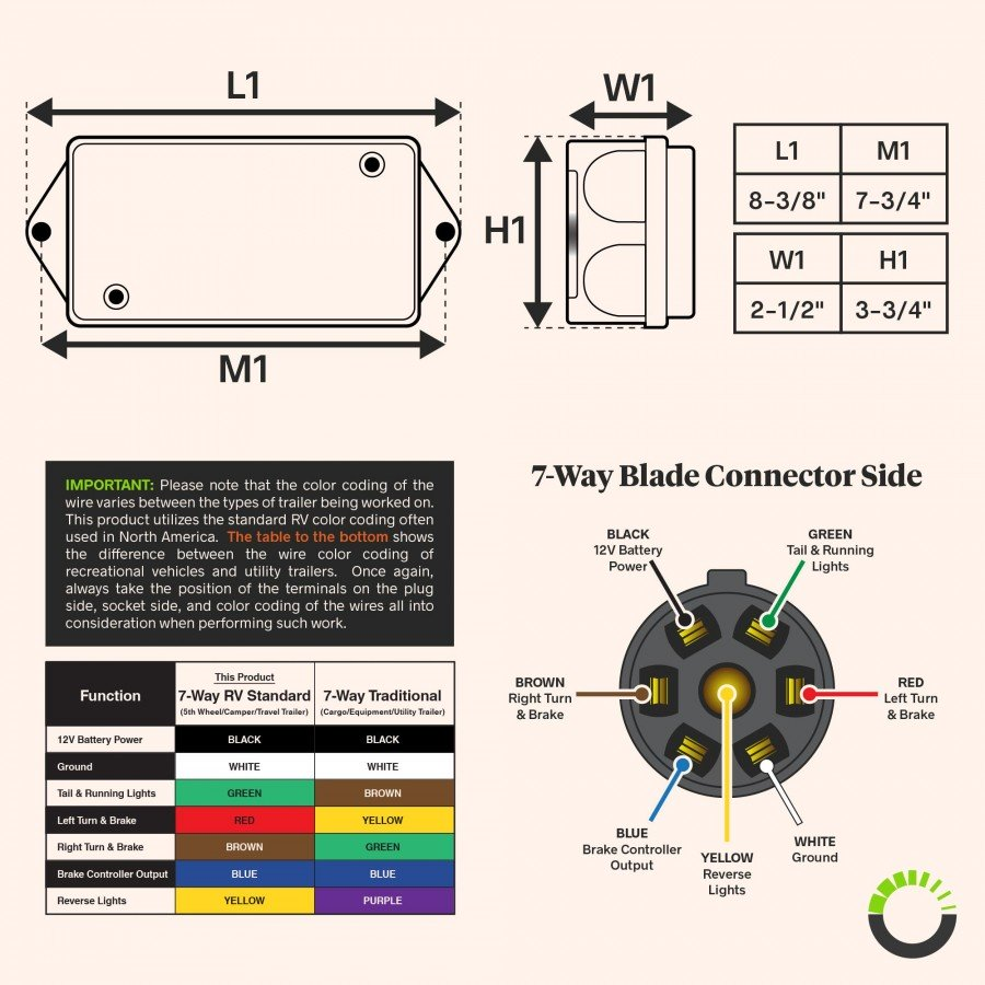 7 Way Trailer Wiring Junction Box W 8ft Cable Accepspwr0087