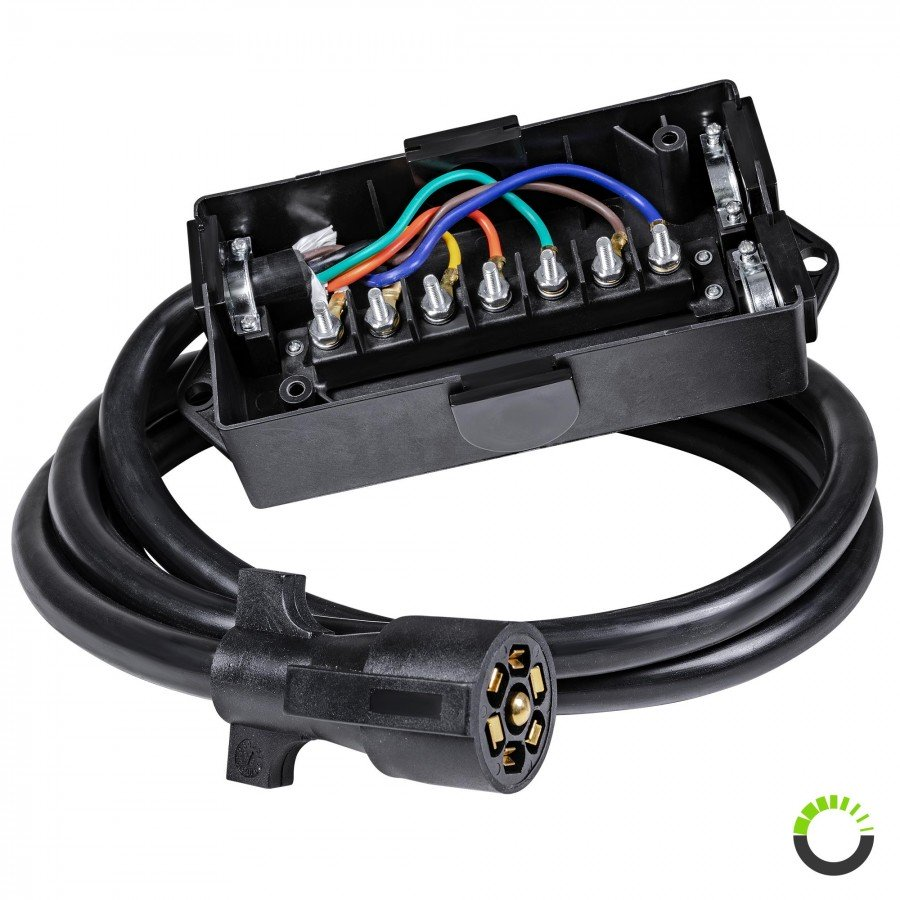 7-Way Trailer Wiring Junction Box w/ 8ft Cable | ACCEPSPWR0087Online-LED-Store.com