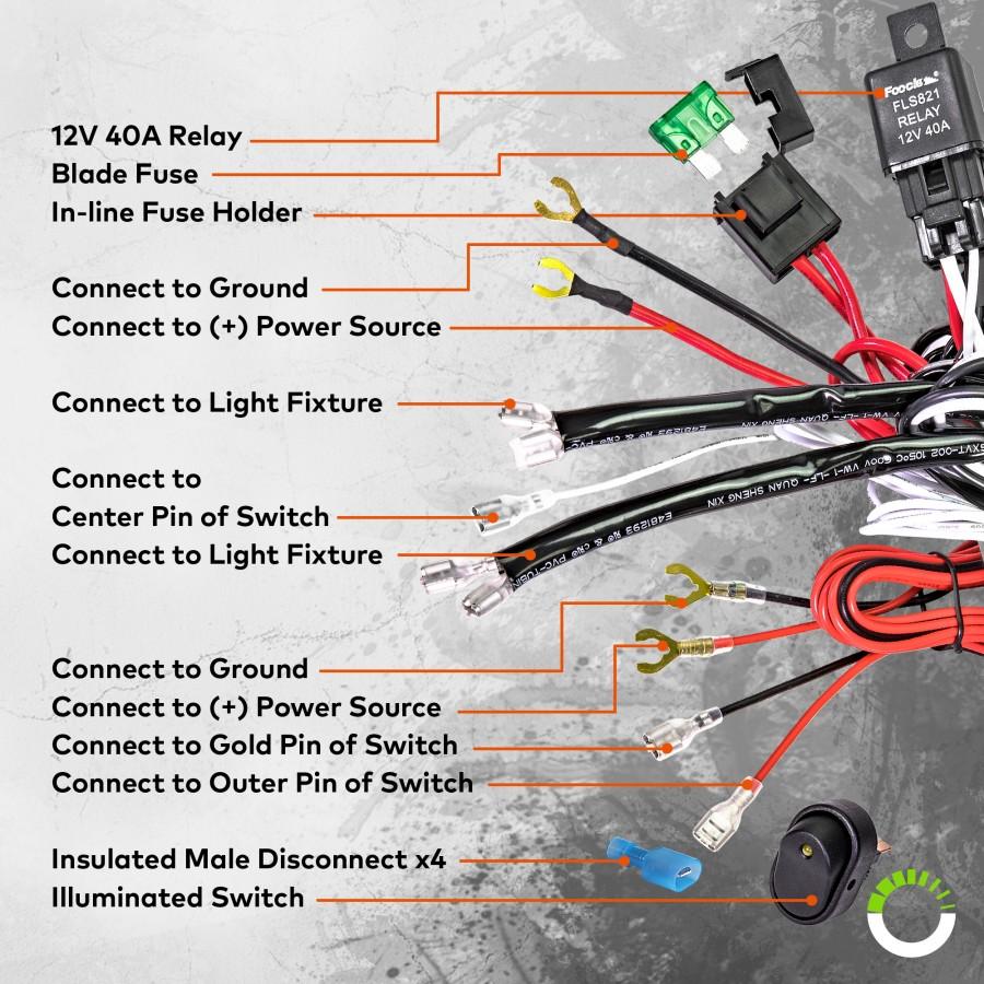 Lamphus Orwh04 Off Road Light Bar Wiring Harness Set Mini On Spst Rocker Switch Prev