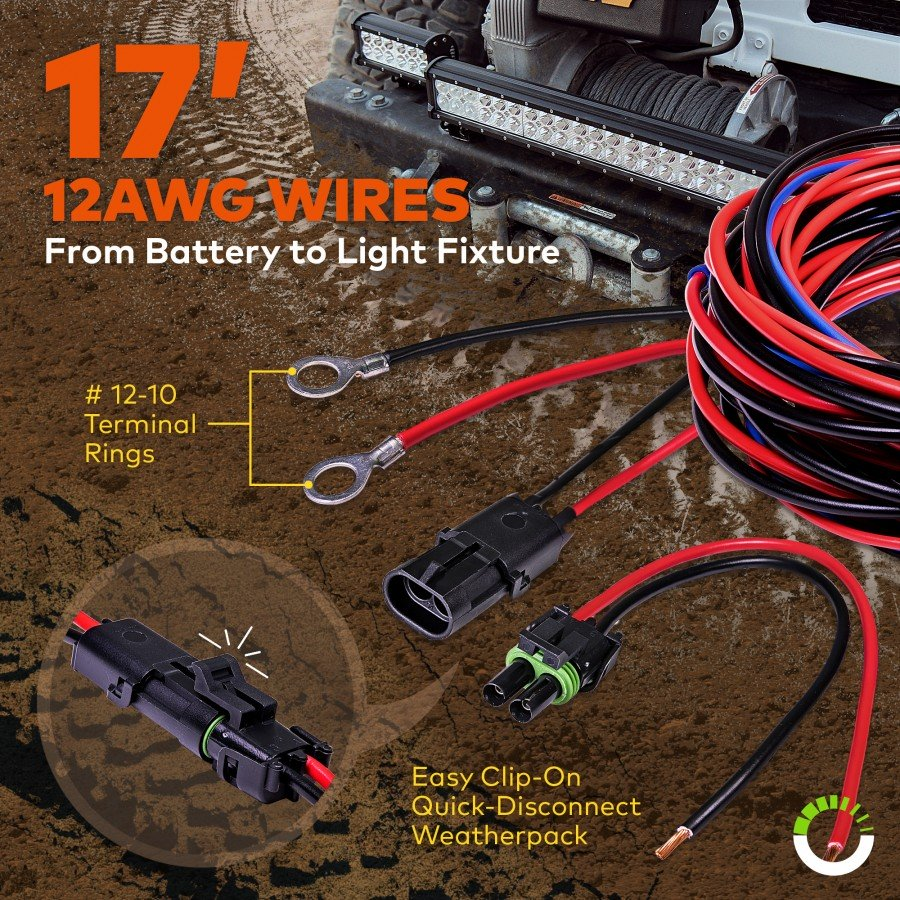 Lamphus Orwh05 17 Heavy Duty Led Off Road Light Wiring Harness Set Wire Connector Clip Prev