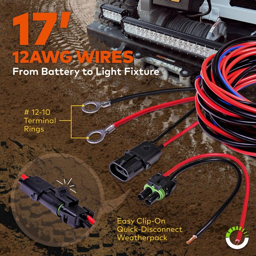 Lamphus Orwh06 17 Heavy Duty Led Off Road Light Wiring Harness Set Spst Rocker Switch Prev