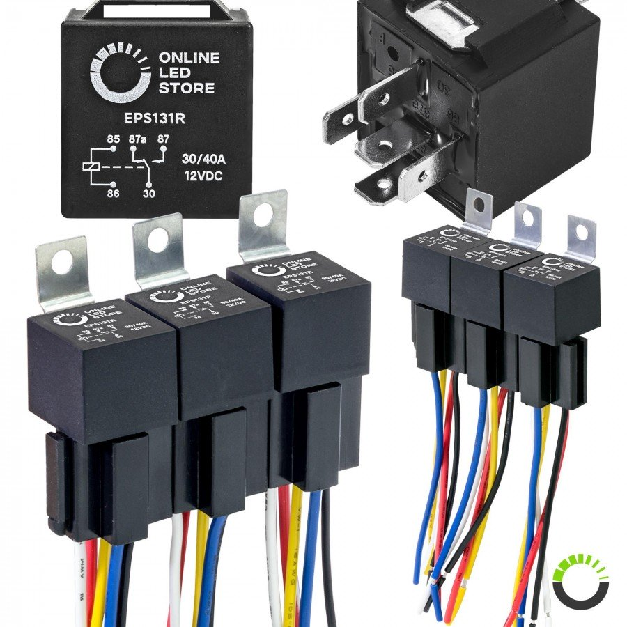 6pc 12v dc 40 30a spdt bosch style 5 pin relay harness base w wires kit 3 Pin Wire Harness