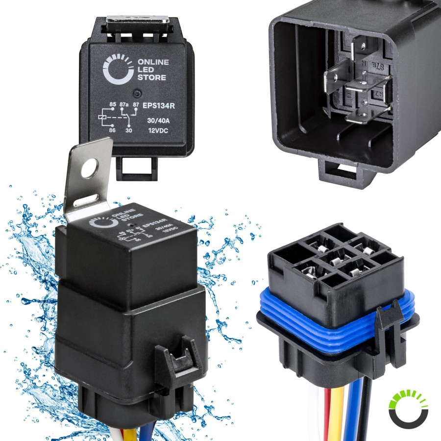 ols 12v 40 30 amp 5 pin spdt bosch style waterproof electrical relay5 pin waterproof relay kit 14v dc 40 30a spdt