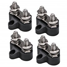 4pc M8 Dual Terminal Stud w/ Removable Connecting Plate - BLACK
