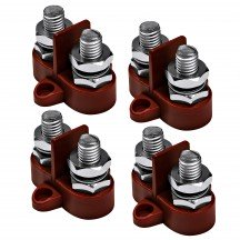 4pc M10 Dual Terminal Stud w/ Removable Isolating Plate - RED