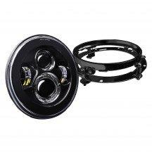 """7"""" Round Harley Davidson Motorcycle Headlight Kit + Mounting Bracket - BLACK"""