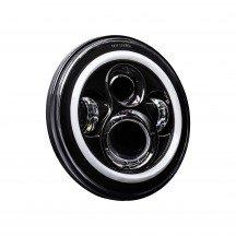 "7"" Round HALO Harley Davidson Motorcycle Headlight Kit - BLACK"