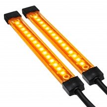"4.5"" 15 LED Single Row Motorcycle TBT Light Strip Pair Set - Amber"