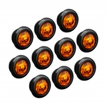 """10pc 3/4"""" 1 LED Round Clearance Marker Light - AMBER"""