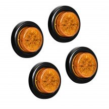 """4pc 2"""" 10-LED Round Clearance Side Marker - Amber"""