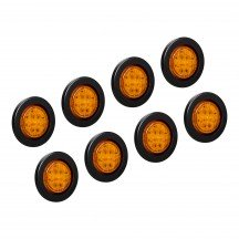 """8pc 2.5"""" 13-LED Round Clearance Side Marker - Amber"""