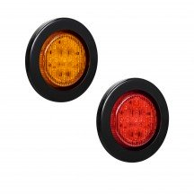 "2.5"" 13-LED Round Amber + 2.5"" 13-LED Round Red Clearance Side Marker Light 2pc Combo"