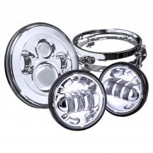 "7"" Round Harley Davidson Motorcycle Headlight Kit + 4.5"" Fog Light Kit + Mounting Bracket - CHROME"