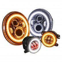 "7"" Round JEEP HALO Amber Turn Signal  Headlight Kit + 4"" HALO Fog Light Kit - BLACK"