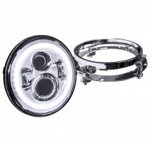 "7"" Round HALO Harley Davidson Motorcycle Headlight Kit + Mounting Bracket - CHROME"