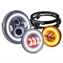 "7"" Round HALO Harley Davidson Motorcycle Headlight Kit + 4.5"" HALO Fog Light Kit + Mounting Bracket - BLACK"