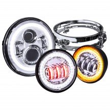 "7"" Round HALO Harley Davidson Motorcycle Headlight Kit + 4.5"" HALO Fog Light Kit + Mounting Bracket - CHROME"