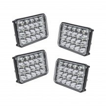 "4pc 6"" x 4"" Rectangular 45W LED Headlight"